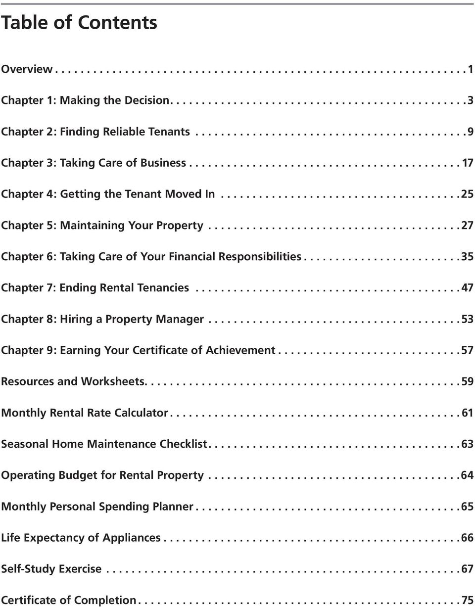 .....................................25 Chapter 5: Maintaining Your Property........................................ 27 Chapter 6: Taking Care of Your Financial Responsibilities.