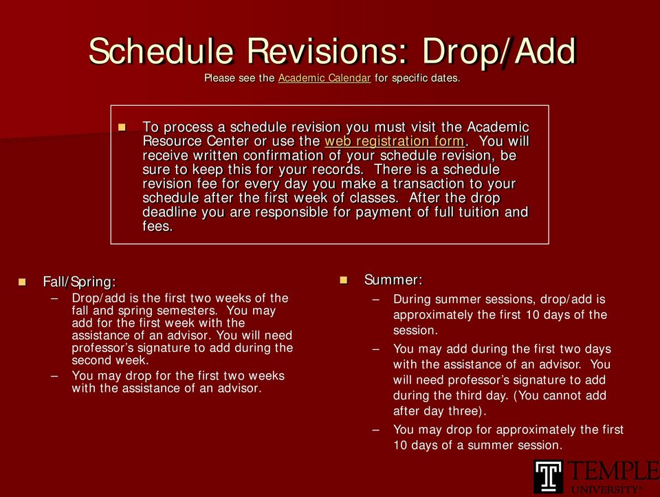 There is a schedule revision fee for every day you make a transaction to your schedule after the first week of classes.