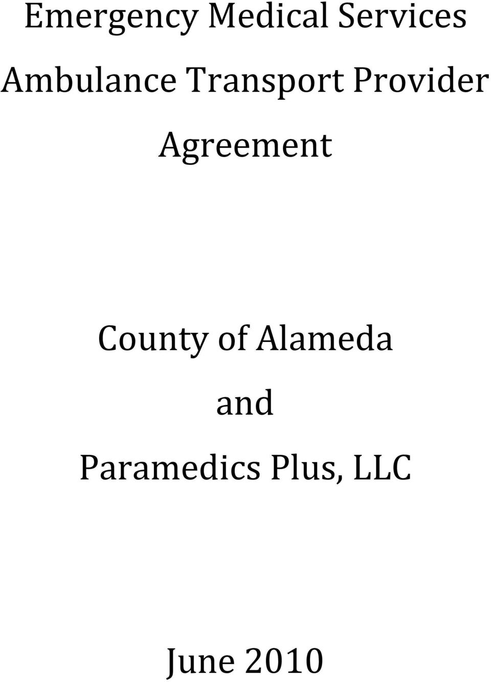 Agreement County of Alameda