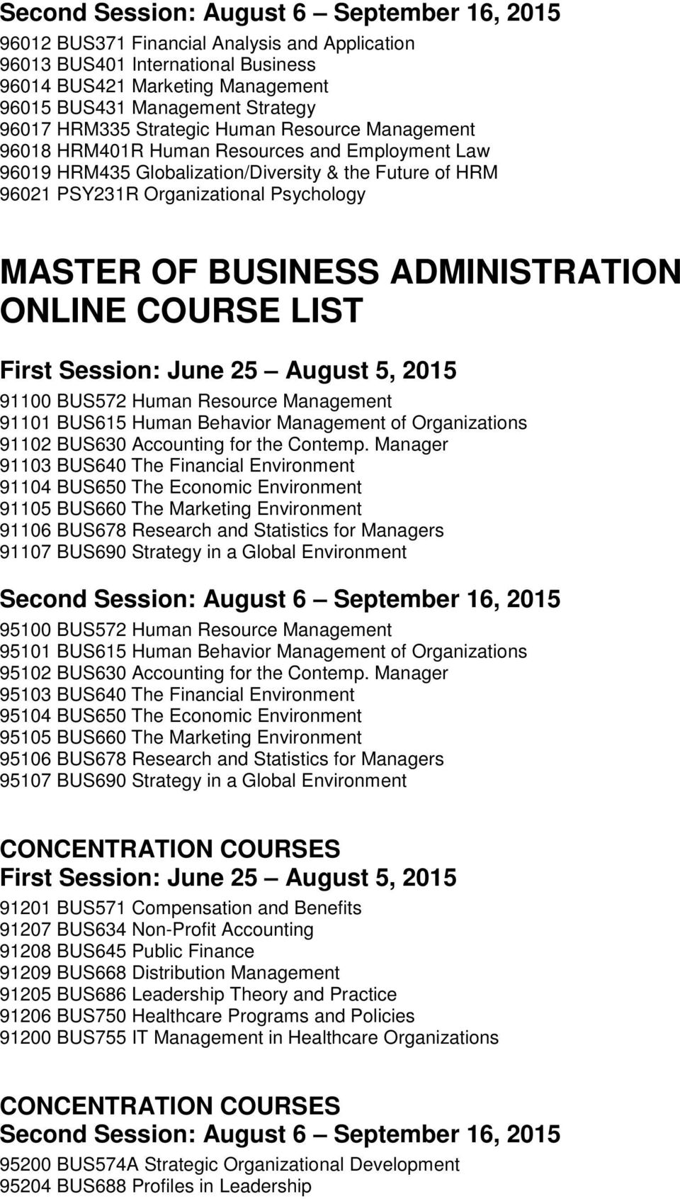 MASTER OF BUSINESS ADMINISTRATION ONLINE COURSE LIST 91100 BUS572 Human Resource Management 91101 BUS615 Human Behavior Management of Organizations 91102 BUS630 Accounting for the Contemp.