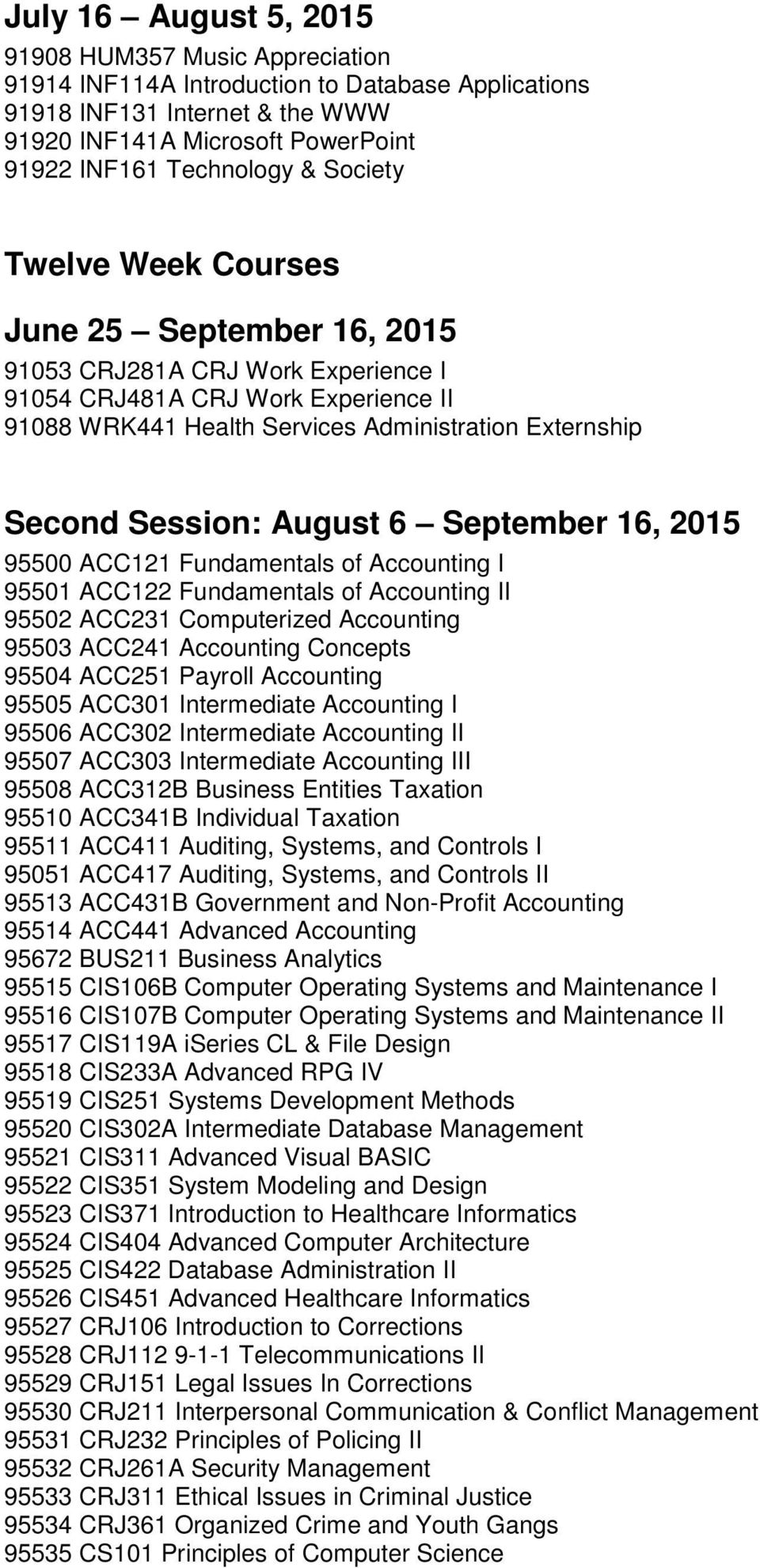August 6 September 16, 2015 95500 ACC121 Fundamentals of Accounting I 95501 ACC122 Fundamentals of Accounting II 95502 ACC231 Computerized Accounting 95503 ACC241 Accounting Concepts 95504 ACC251