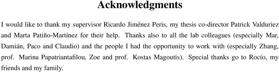 Thanks also to all the lab colleagues (especially Mar, Damián, Paco and Claudio) and the people I had the