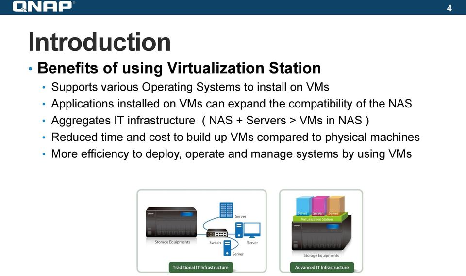 Aggregates IT infrastructure ( NAS + Servers > VMs in NAS ) Reduced time and cost to build up