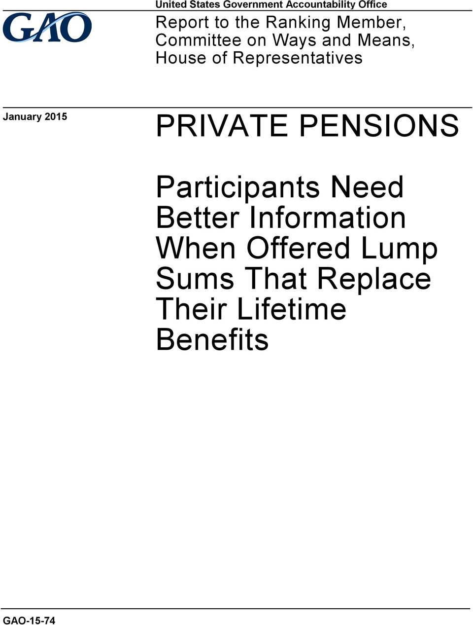 Representatives January 2015 PRIVATE PENSIONS Participants Need