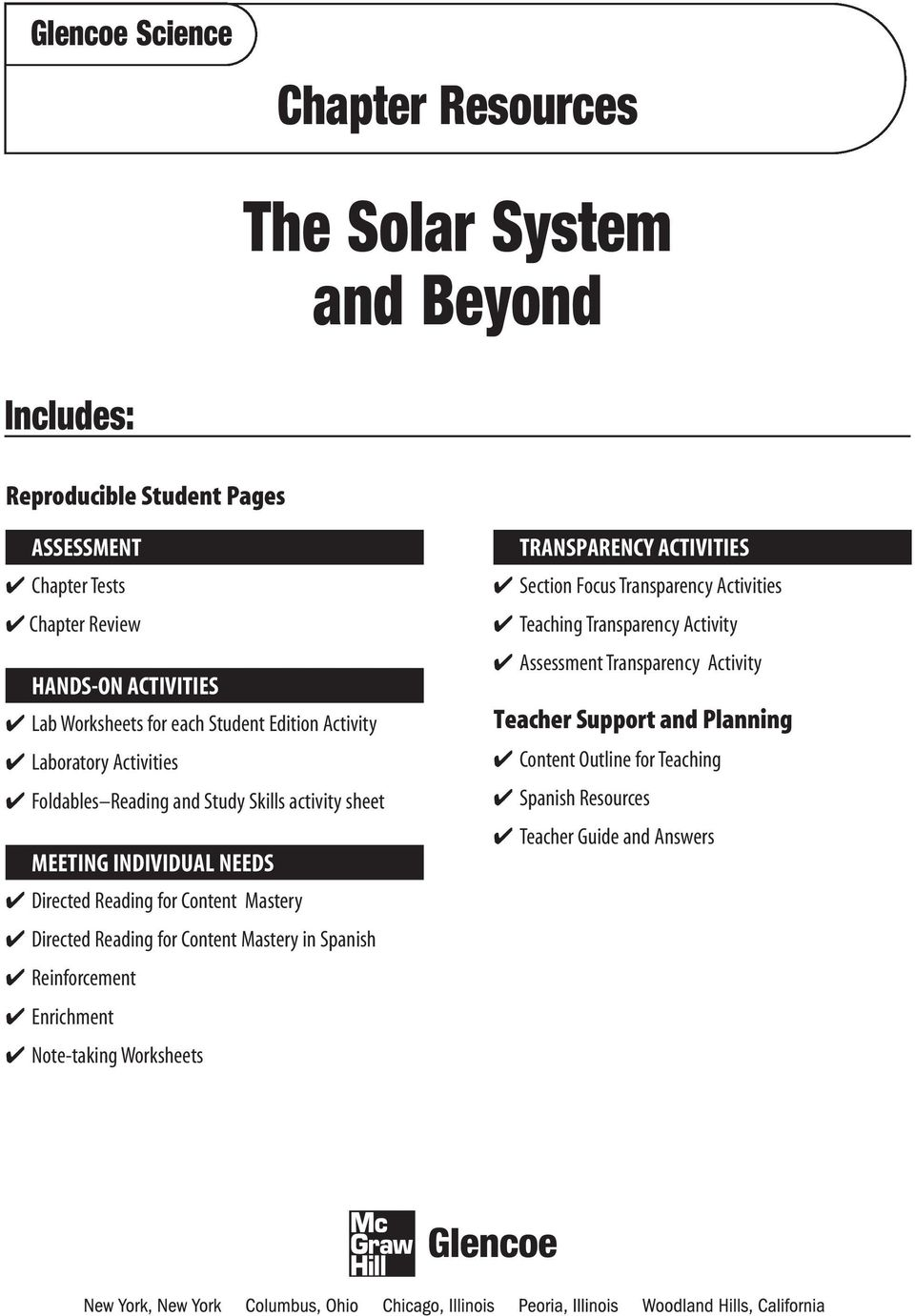 worksheet Solar System Worksheets Pdf the solar system and beyond pdf content mastery directed reading for in spanish reinforcement enrichment note taking worksheets transparency