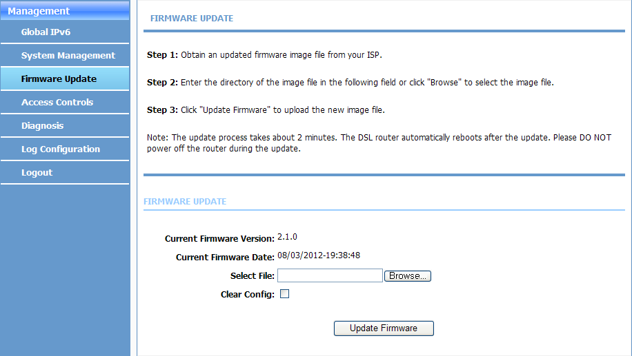 5.3 Updating the Firmware This procedure describes how to import a firmware image file. Prerequisite A firmware image update file has been obtained from the ISP.