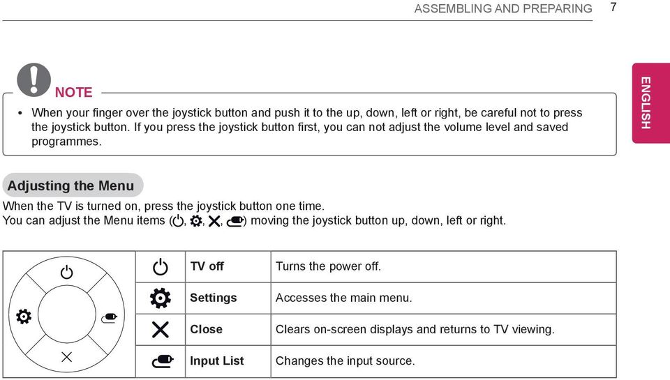 Adjusting the Menu When the TV is turned on, press the joystick button one time.