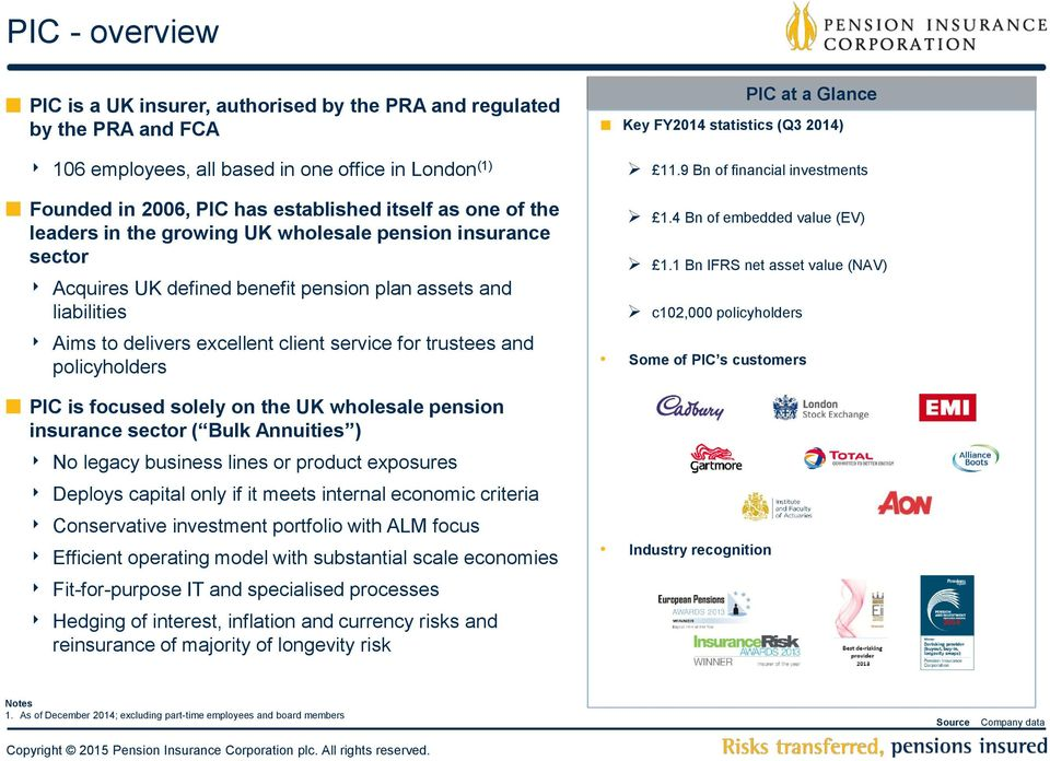 policyholders PIC is focused solely on the UK wholesale pension insurance sector ( Bulk Annuities ) No legacy business lines or product exposures Deploys capital only if it meets internal economic