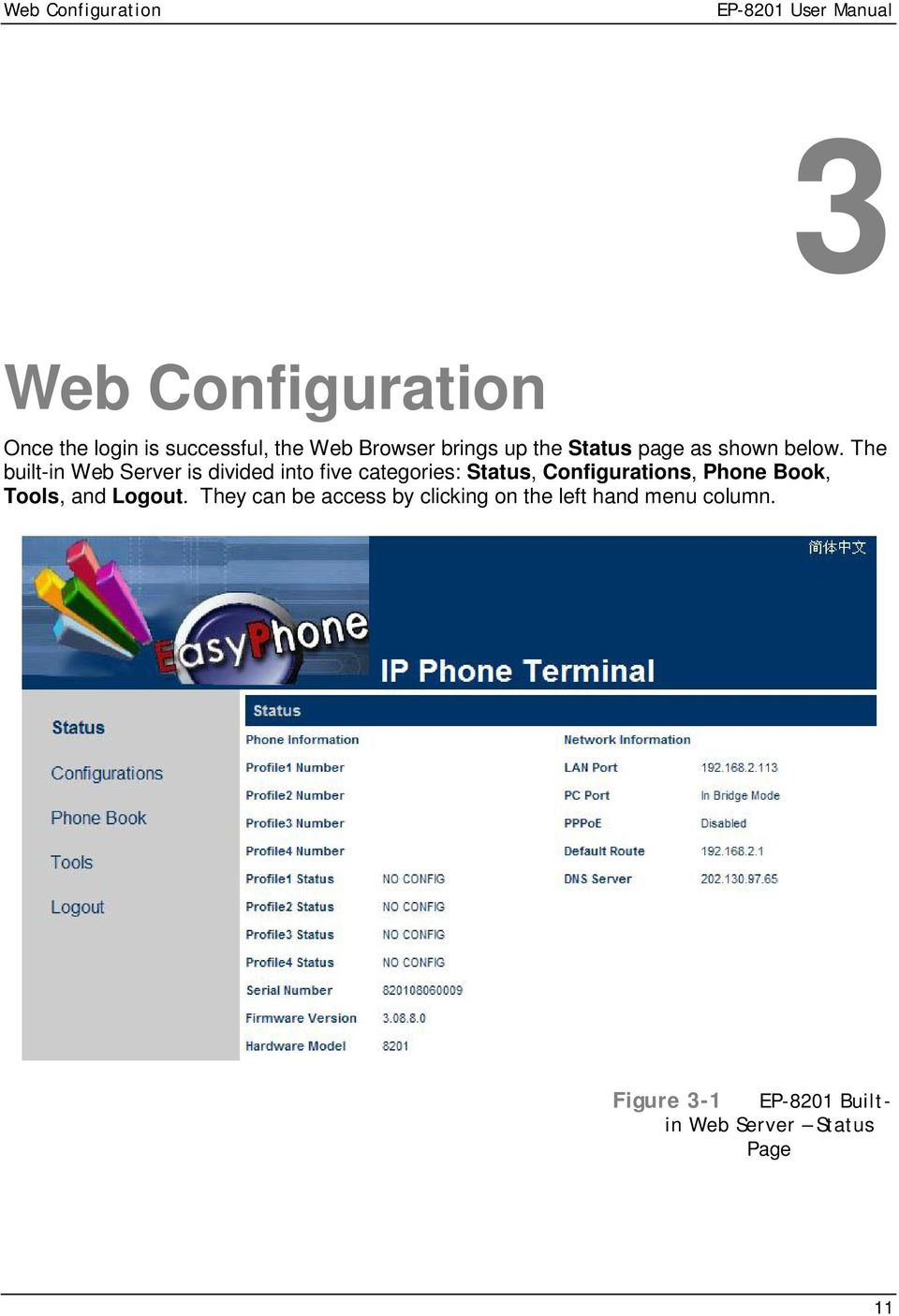The built-in Web Server is divided into five categories: Status, Configurations, Phone