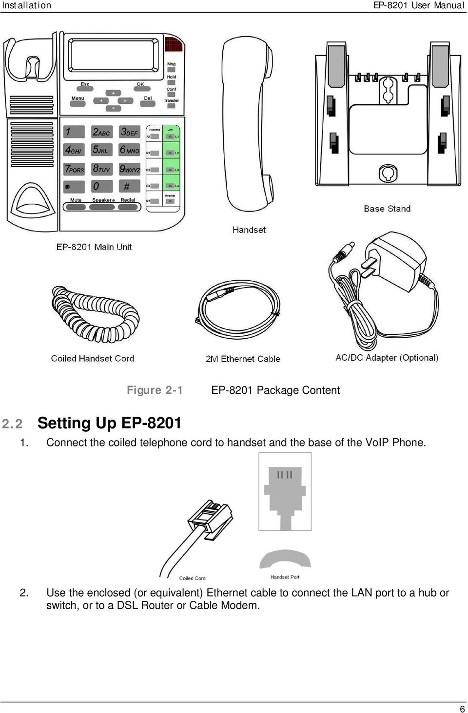 Connect the coiled telephone cord to handset and the base of the VoIP