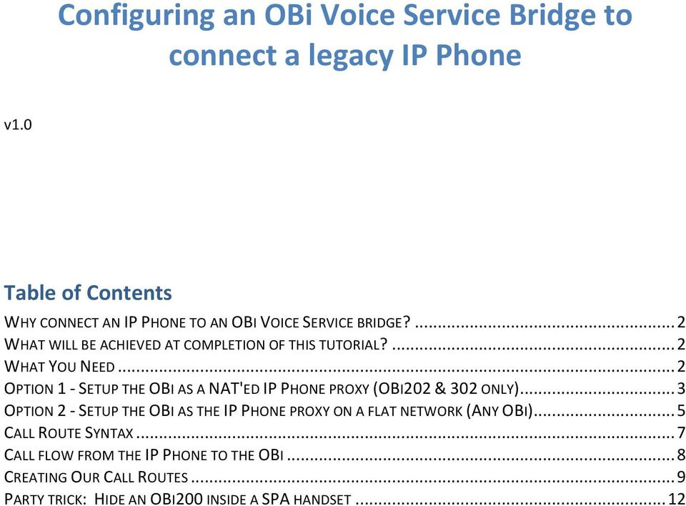 ... 2 WHAT YOU NEED... 2 OPTION 1 - SETUP THE OBI AS A NAT'ED IP PHONE PROXY (OBI202 & 302 ONLY).