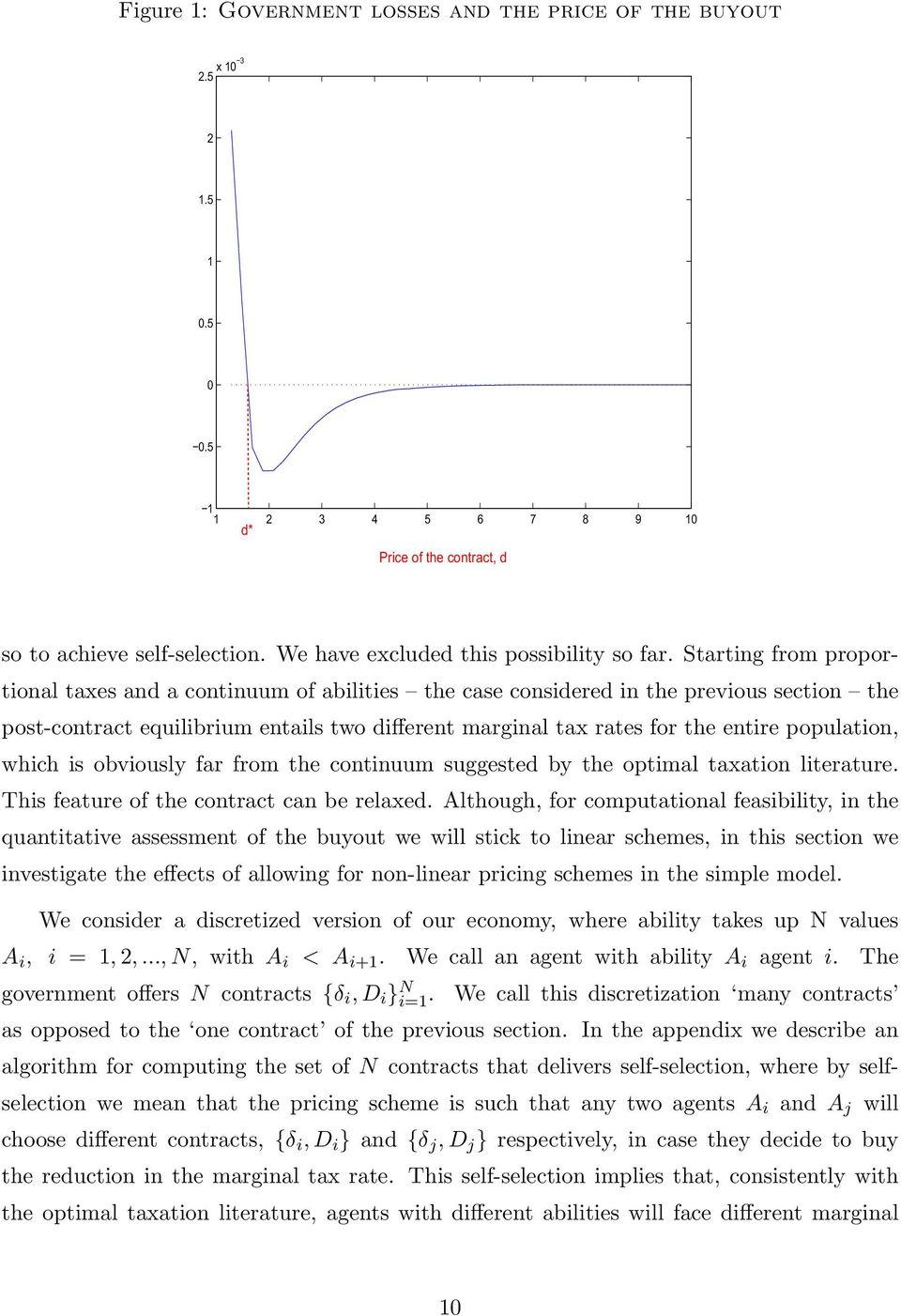 Starting from proportional taxes and a continuum of abilities the case considered in the previous section the post-contract equilibrium entails two different marginal tax rates for the entire