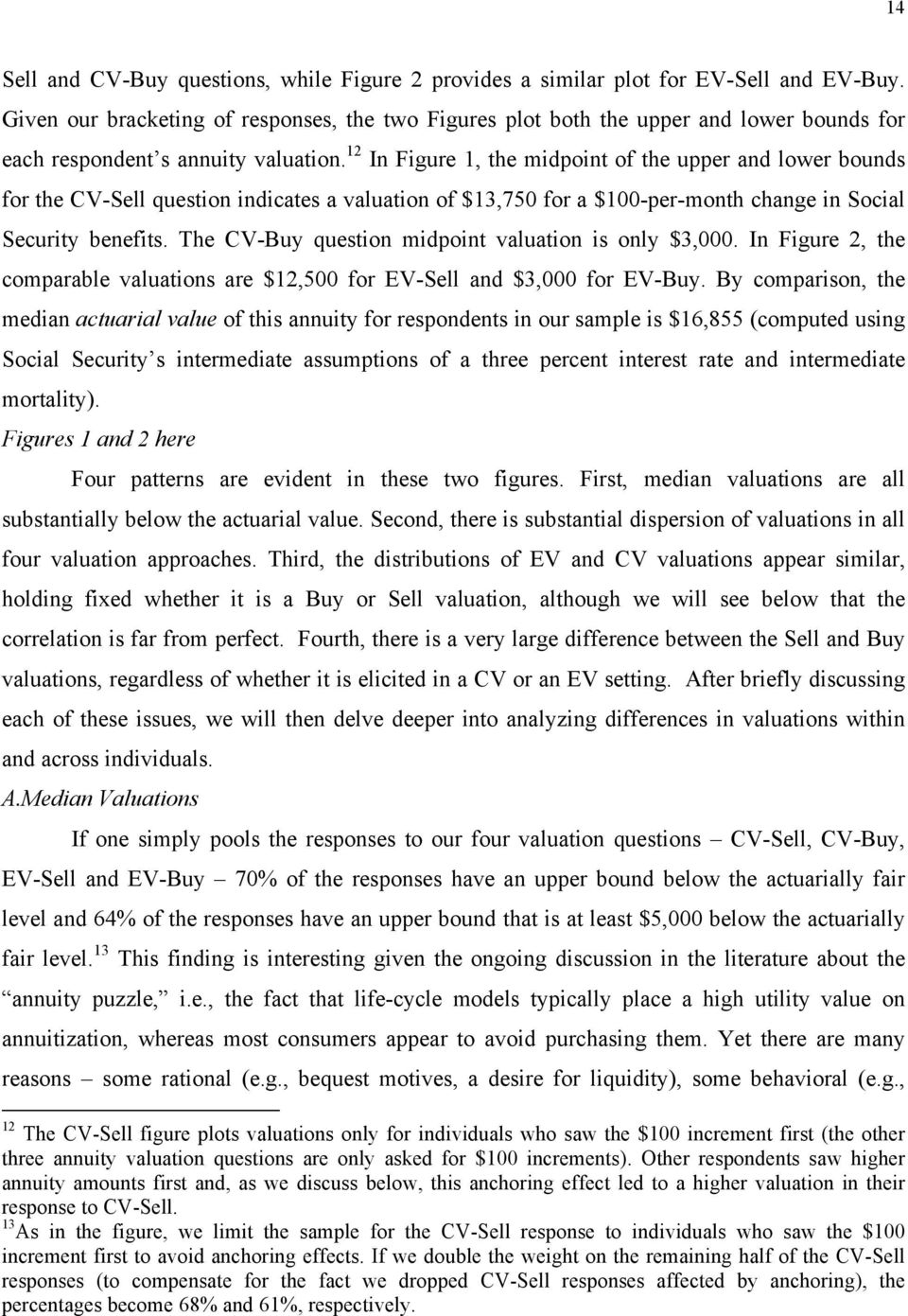 12 In Figure 1, the midpoint of the upper and lower bounds for the CV-Sell question indicates a valuation of $13,750 for a $100-per-month change in Social Security benefits.