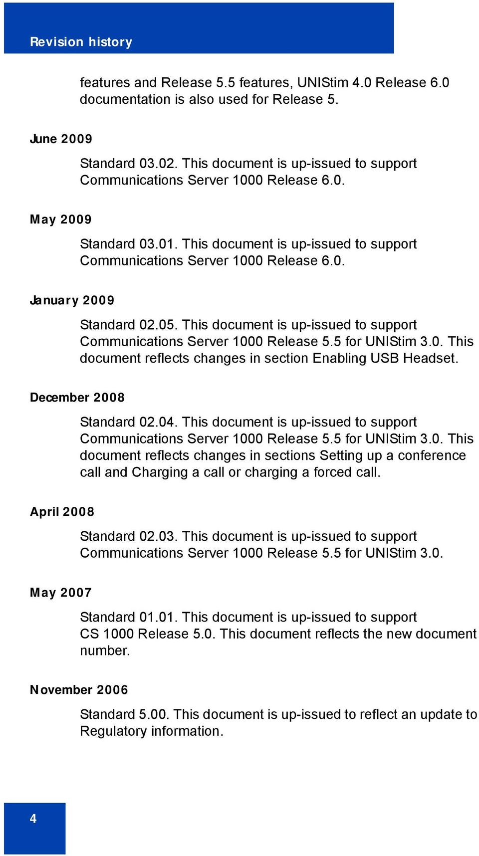 05. This document is up-issued to support Communications Server 1000 Release 5.5 for UNIStim 3.0. This document reflects changes in section Enabling USB Headset. December 2008 Standard 02.04.