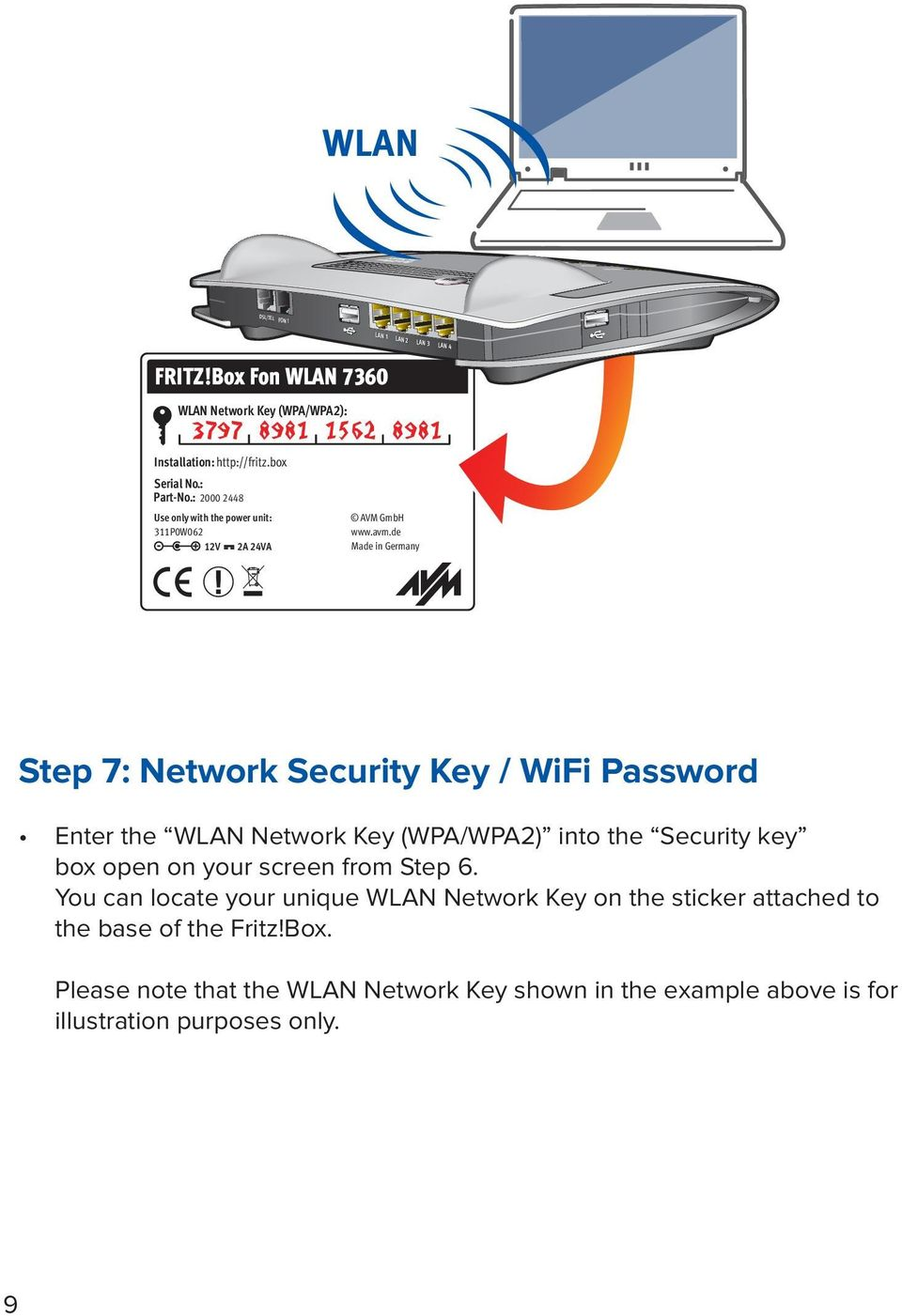 de Made in Germany Step 7: Network Security Key / WiFi Password Enter the WLAN Network Key (WPA/WPA2) into the Security key box open on your