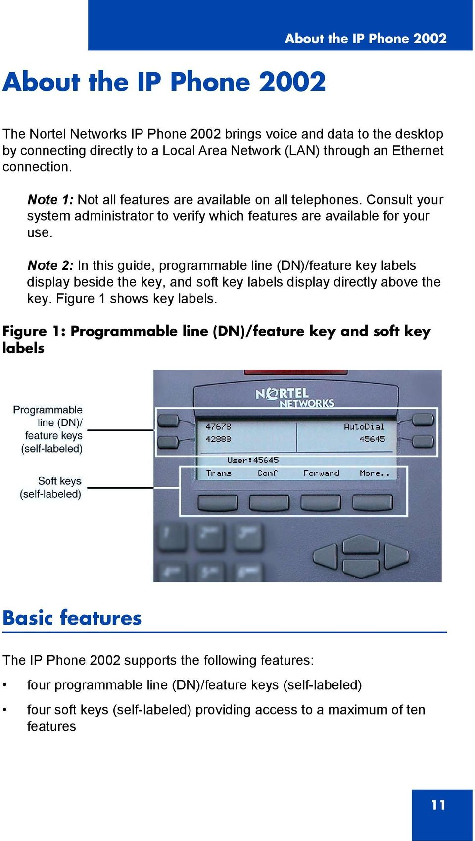 Note 2: In this guide, programmable line (DN)/feature key labels display beside the key, and soft key labels display directly above the key. Figure 1 shows key labels.
