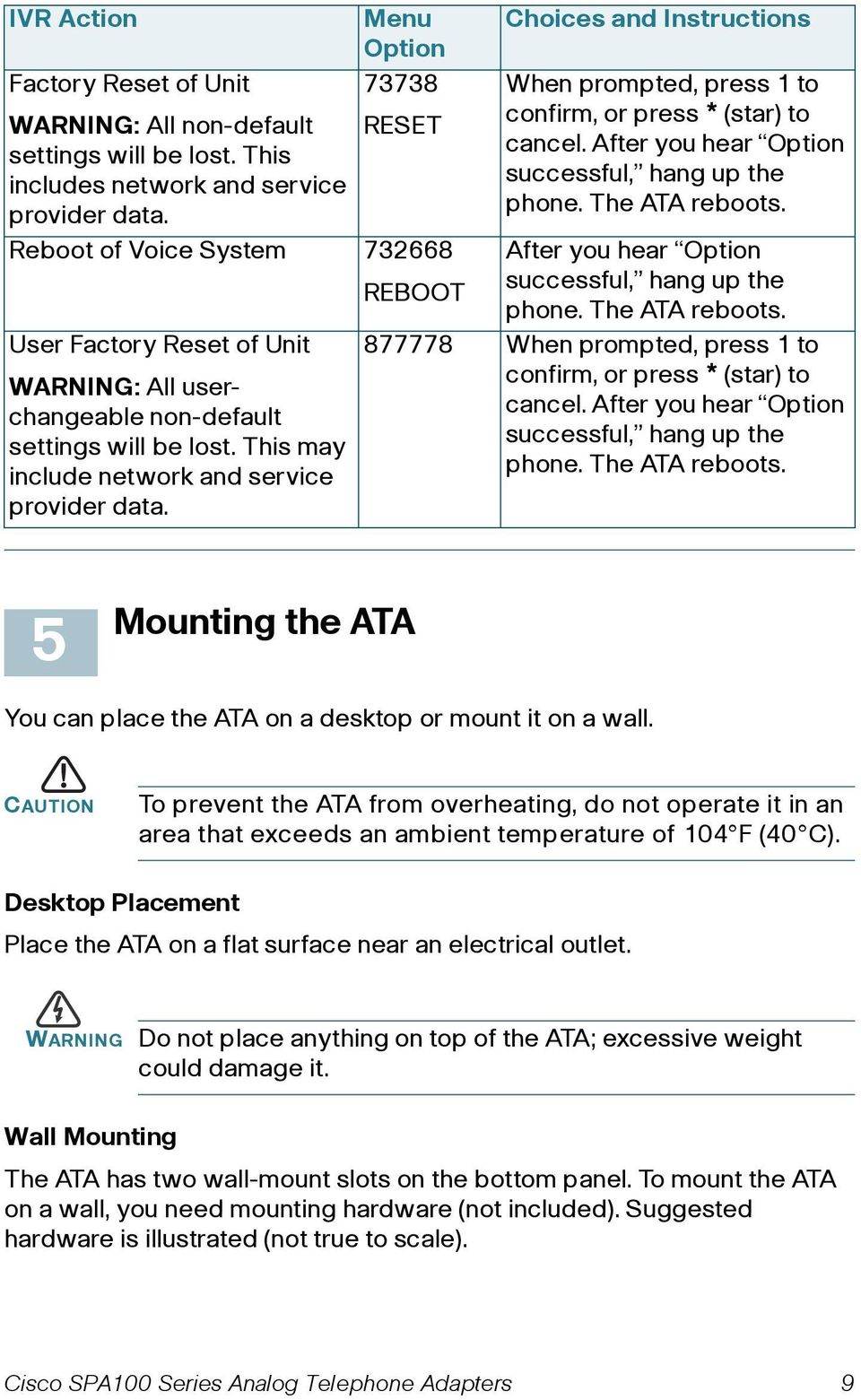 REBOOT Choices and Instructions When prompted, press 1 to confirm, or press * (star) to cancel. After you hear Option successful, hang up the phone. The ATA reboots.