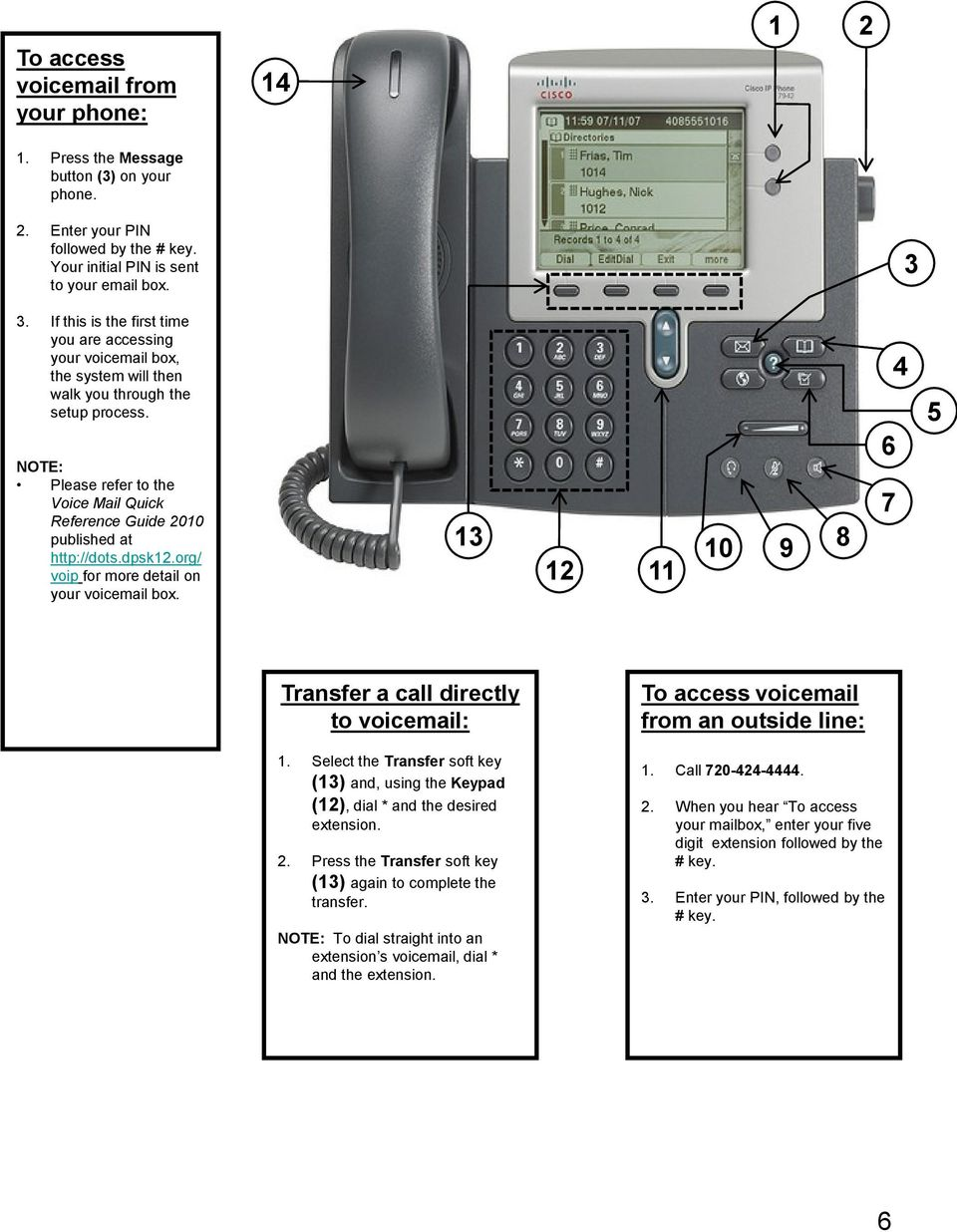 NOTE: Please refer to the Voice Mail Quick Reference Guide 20 published at http://dots.dpsk.org/ voip for more detail on your voicemail box. 1 Transfer a call directly to voicemail: 1.