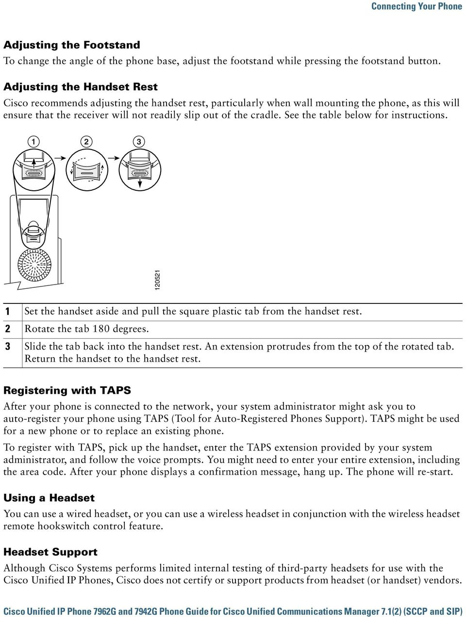 See the table below for instructions. 1 2 3 120521 1 Set the handset aside and pull the square plastic tab from the handset rest. 2 Rotate the tab 180 degrees.
