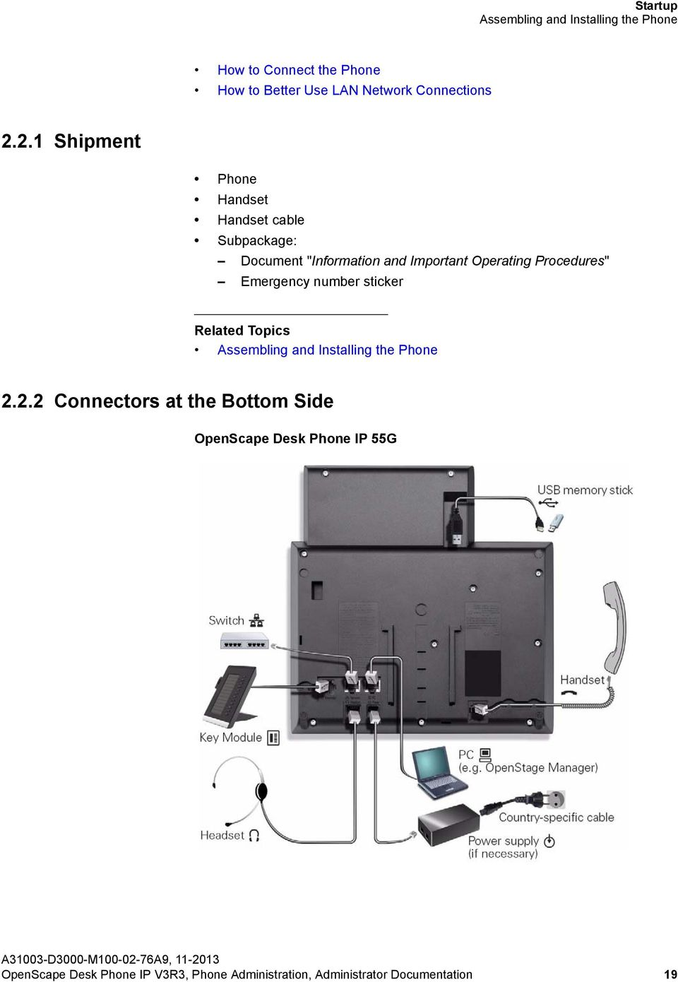 "2.1 Shipment Phone Handset Handset cable Subpackage: Document ""Information and Important Operating"
