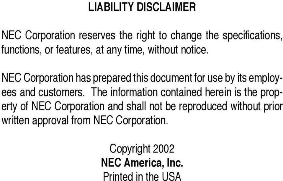 NEC Corporation has prepared this document for use by its employees and customers.