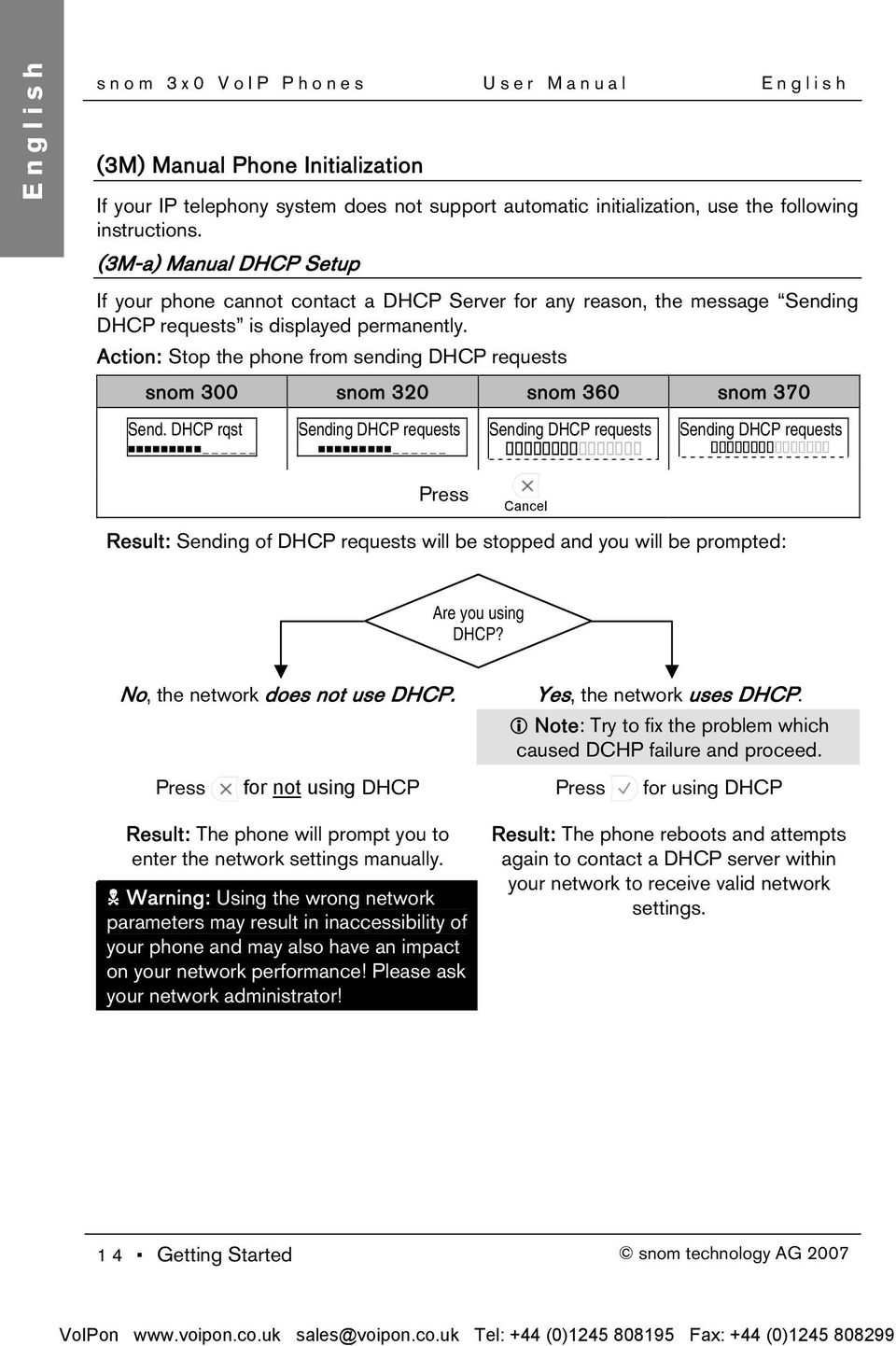 DHCP rqst Sending DHCP requests Sending DHCP requests Sending DHCP requests Cancel Result: Sending of DHCP requests will be stopped and you will be prompted: Are you using DHCP?