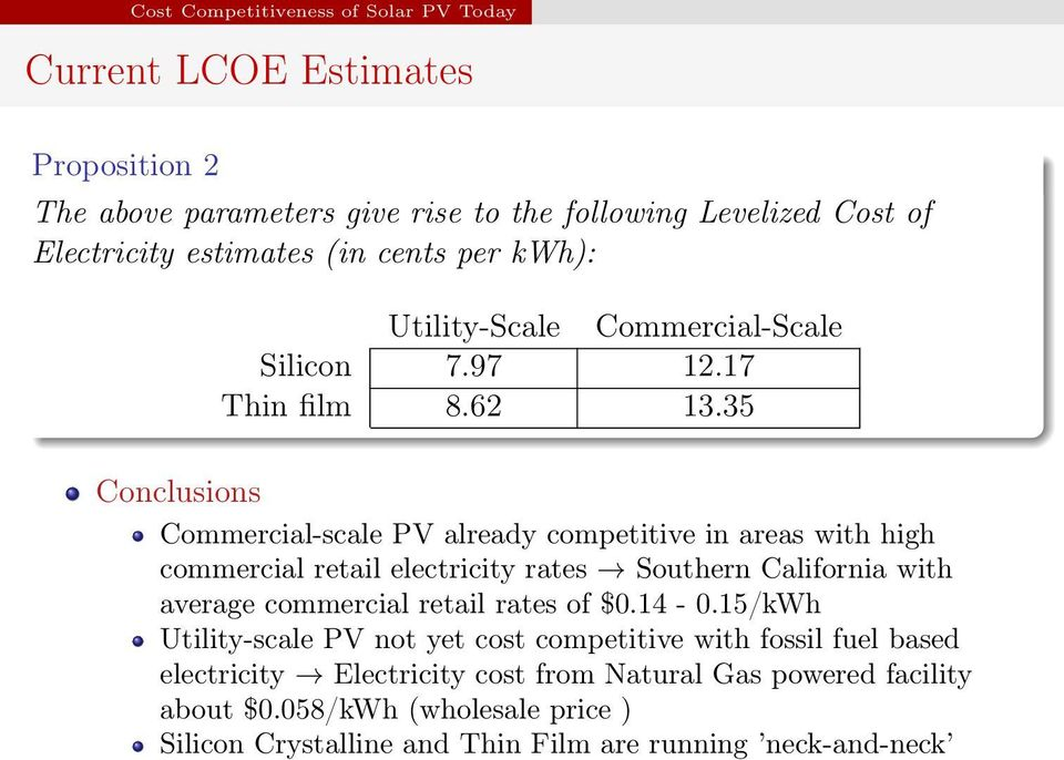 35 Conclusions Commercial-scale PV already competitive in areas with high commercial retail electricity rates Southern California with average commercial retail