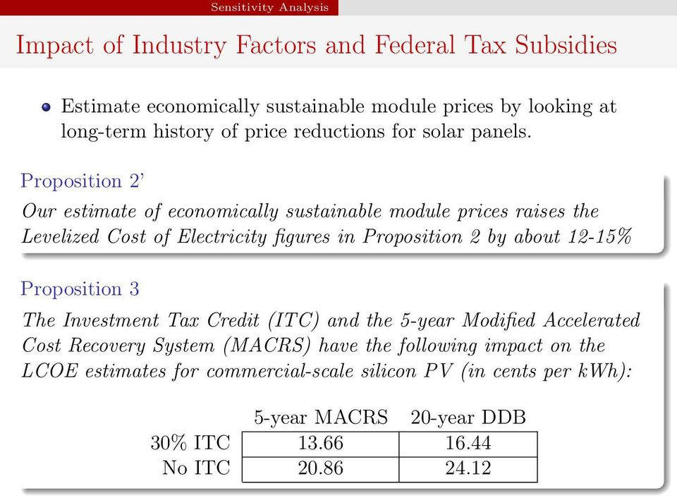 Proposition 2 Our estimate of economically sustainable module prices raises the Levelized Cost of Electricity figures in Proposition 2 by about 12-15%