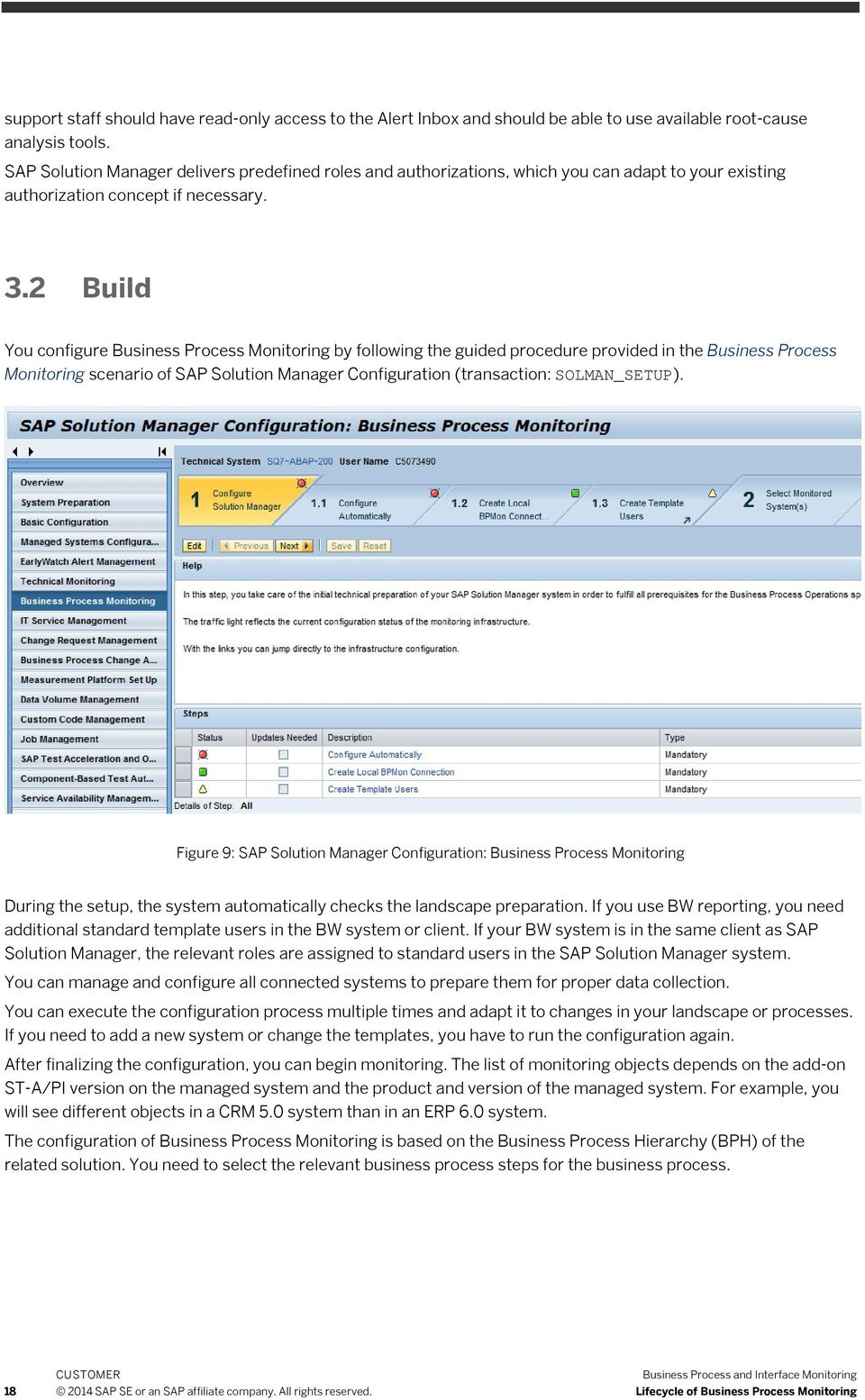 2 Build You configure Business Process Monitoring by following the guided procedure provided in the Business Process Monitoring scenario of SAP Solution Manager Configuration (transaction: