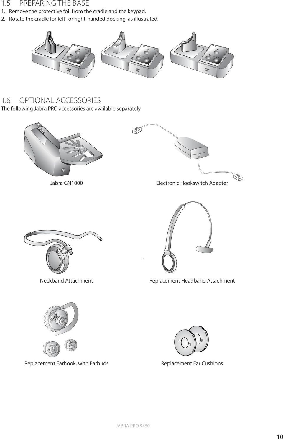 6 OPTIONAL ACCESSORIES The following Jabra PRO accessories are available separately.