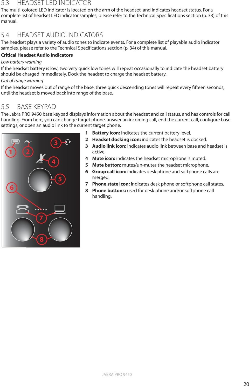 4 HEADSET AUDIO INDICATORS The headset plays a variety of audio tones to indicate events.