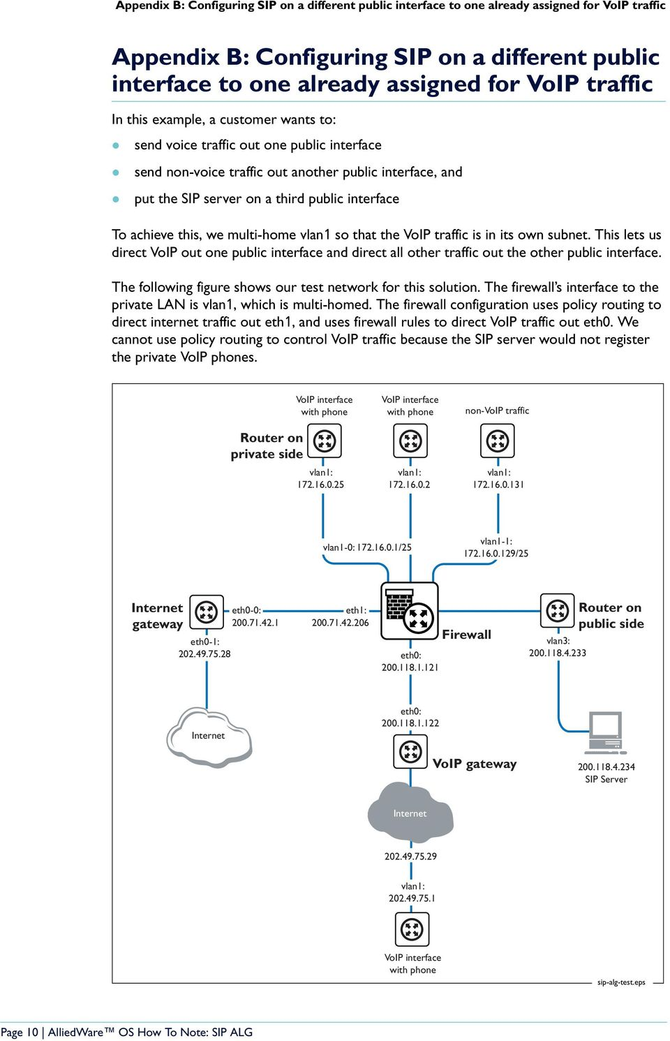 achieve this, we multi-home vlan1 so that the VoIP traffic is in its own subnet. This lets us direct VoIP out one public interface and direct all other traffic out the other public interface.