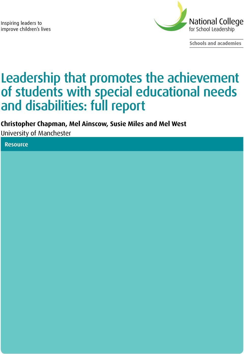 educational needs and disabilities: full report Christopher Chapman,