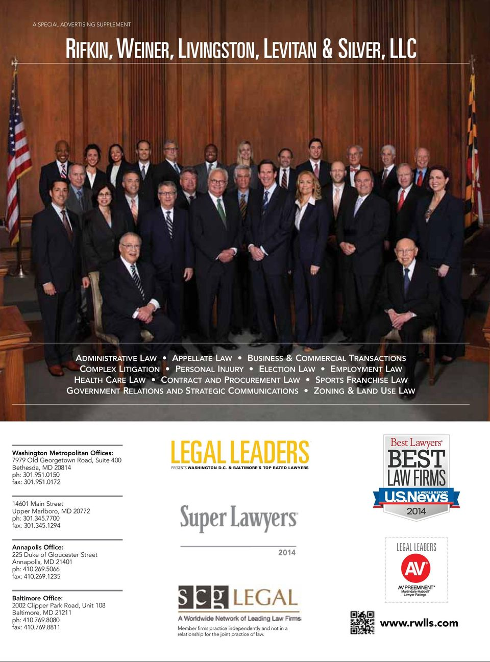 Bethesda, md 20814 ph: 301.951.0150 fax: 301.951.0172 LEGAL LEADERS presents washington D.c. & baltimore s top rated lawyers 14601 main street upper marlboro, md 20772 ph: 301.345.