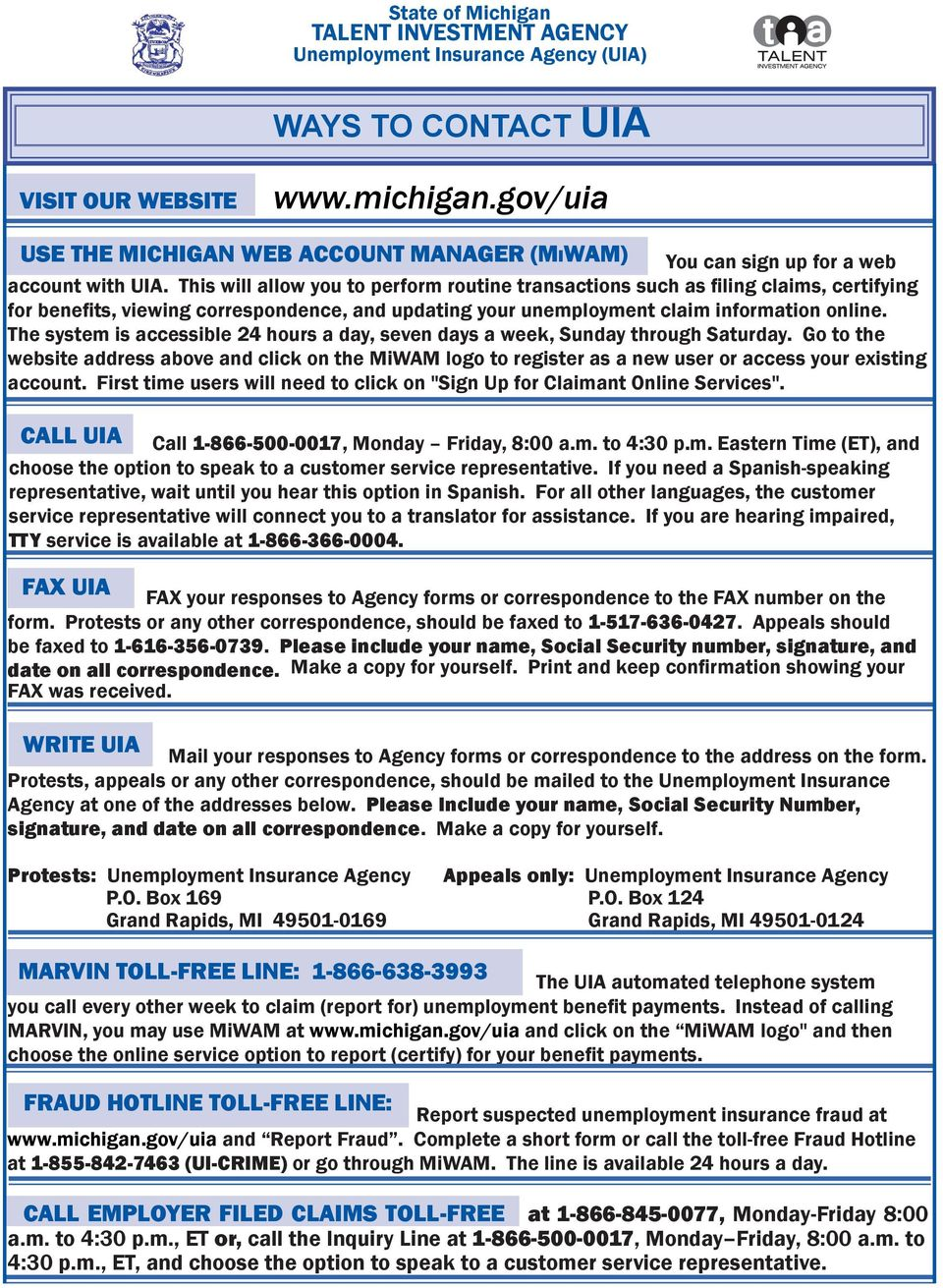 Michigan unemployment benefits in a handbook for unemployed workers for help call toll free - Michigan unemployment office ...
