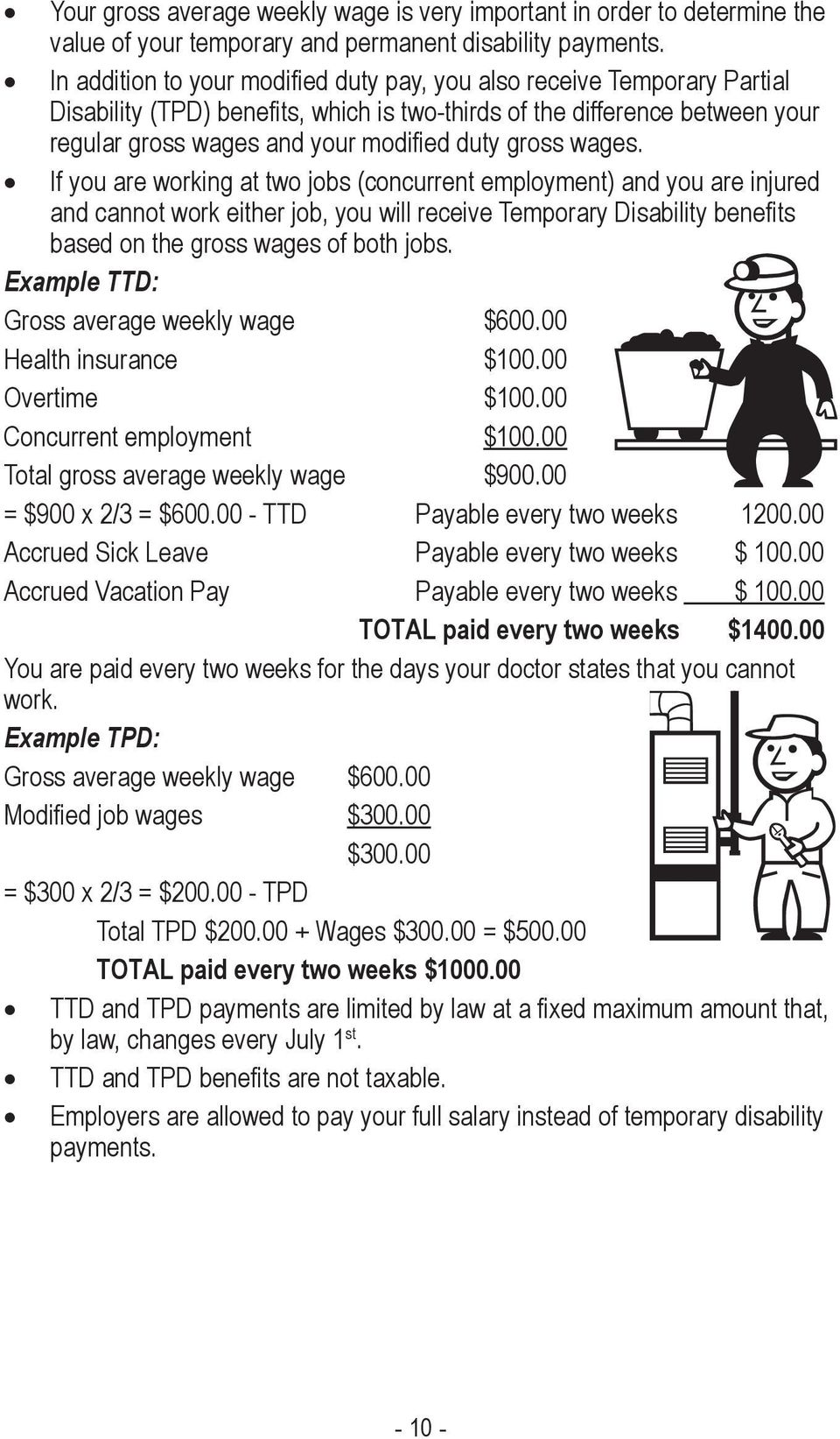 wages. If you are working at two jobs (concurrent employment) and you are injured and cannot work either job, you will receive Temporary Disability bene ts based on the gross wages of both jobs.