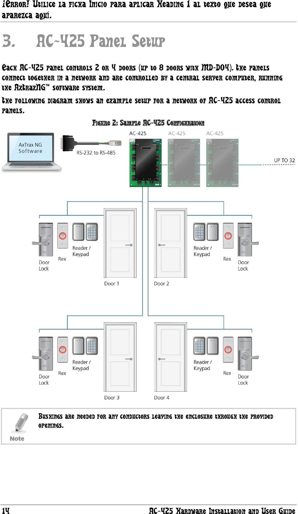 system. The following diagram shows an example setup for a network of AC-425 access control panels.