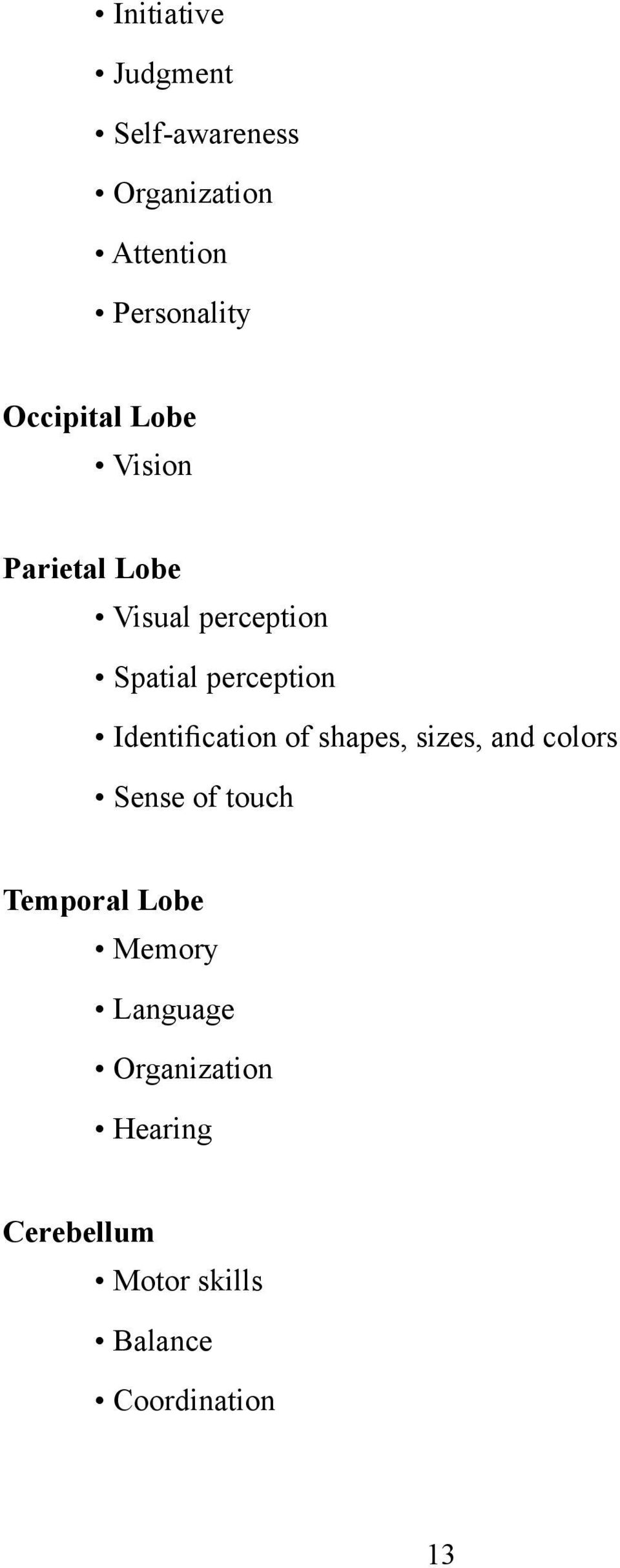 Identification of shapes, sizes, and colors Sense of touch Temporal Lobe