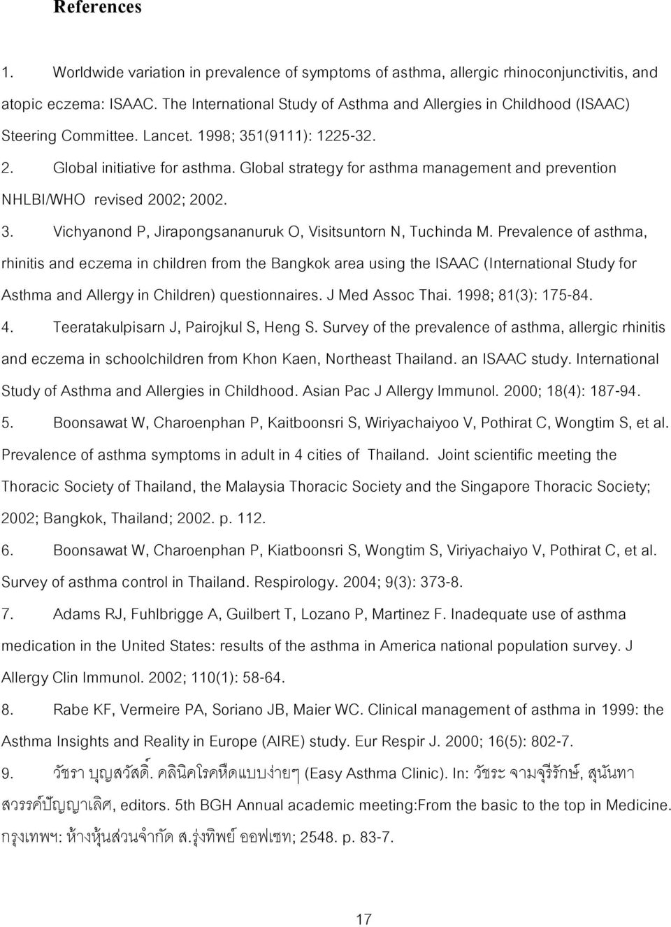 Global strategy for asthma management and prevention NHLBI/WHO revised 2002; 2002. 3. Vichyanond P, Jirapongsananuruk O, Visitsuntorn N, Tuchinda M.
