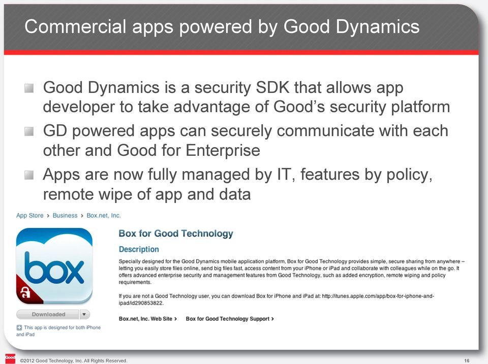 "communicate with each other and Good for Enterprise "" Apps are now fully managed by IT,"