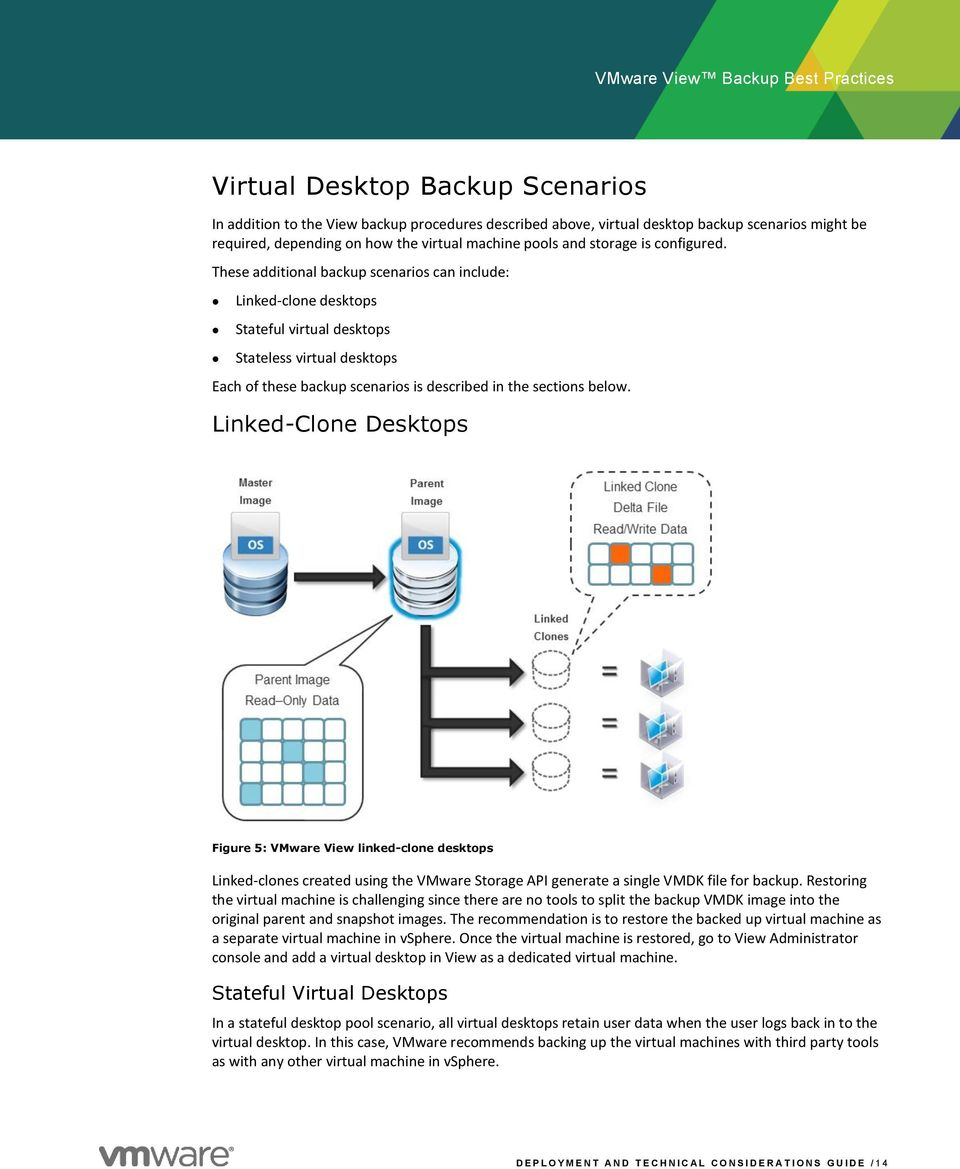 These additional backup scenarios can include: Linked-clone desktops Stateful virtual desktops Stateless virtual desktops Each of these backup scenarios is described in the sections below.