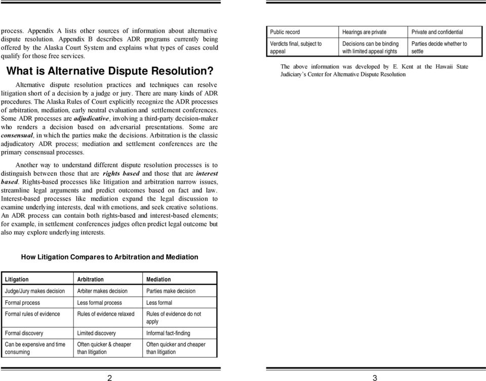 Alternative dispute resolution practices and techniques can resolve litigation short of a decision by a judge or jury. There are many kinds of ADR procedures.
