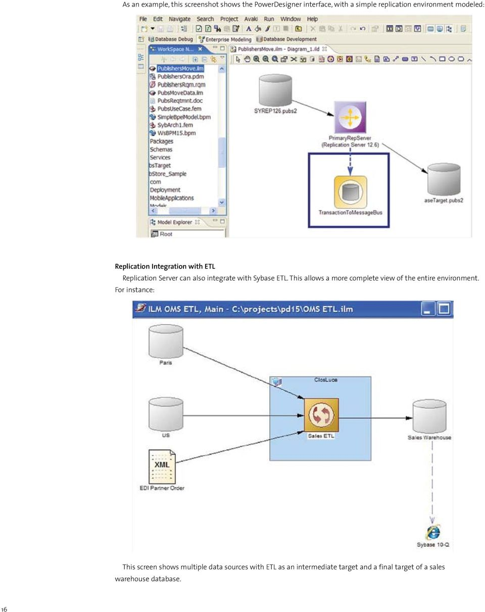Sybase ETL. This allows a more complete view of the entire environment.
