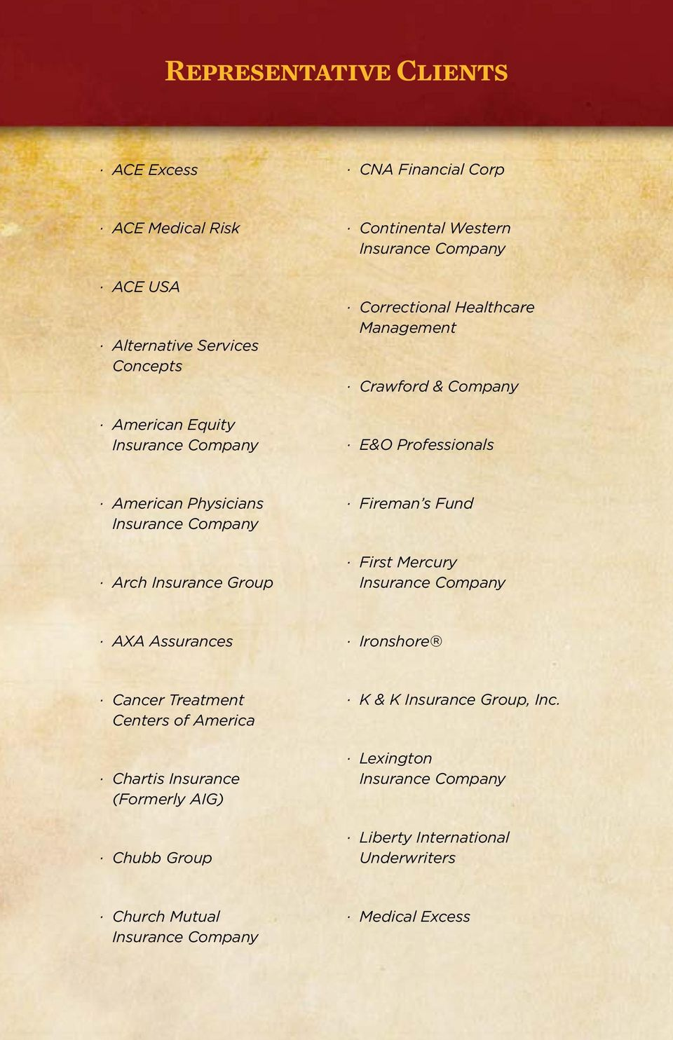 Arch Insurance Group Fireman s Fund First Mercury Insurance Company AXA Assurances Ironshore Cancer Treatment Centers of America Chartis Insurance
