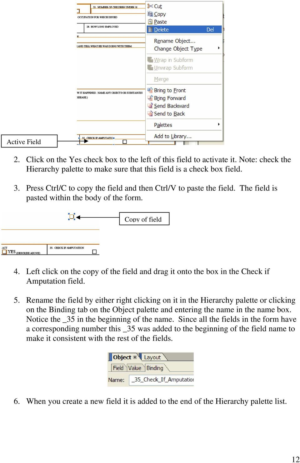 Left click on the copy of the field and drag it onto the box in the Check if Amputation field. 5.