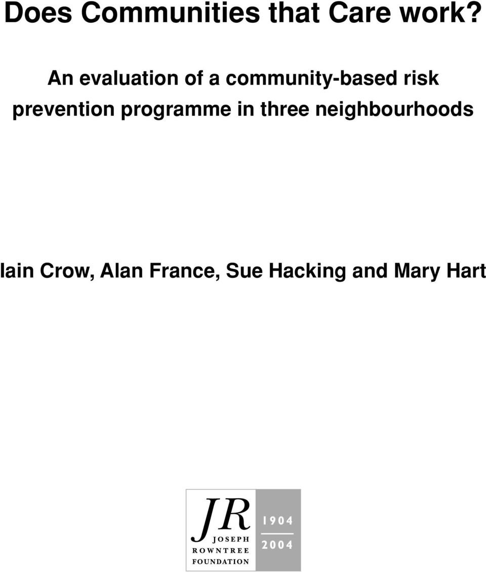 prevention programme in three