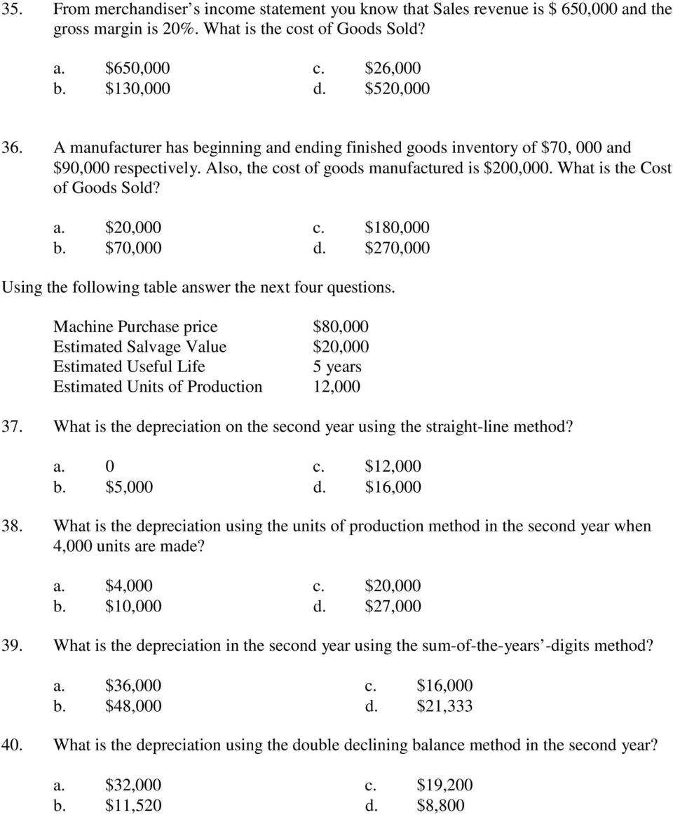 $180,000 b. $70,000 d. $270,000 Using the following table answer the next four questions.