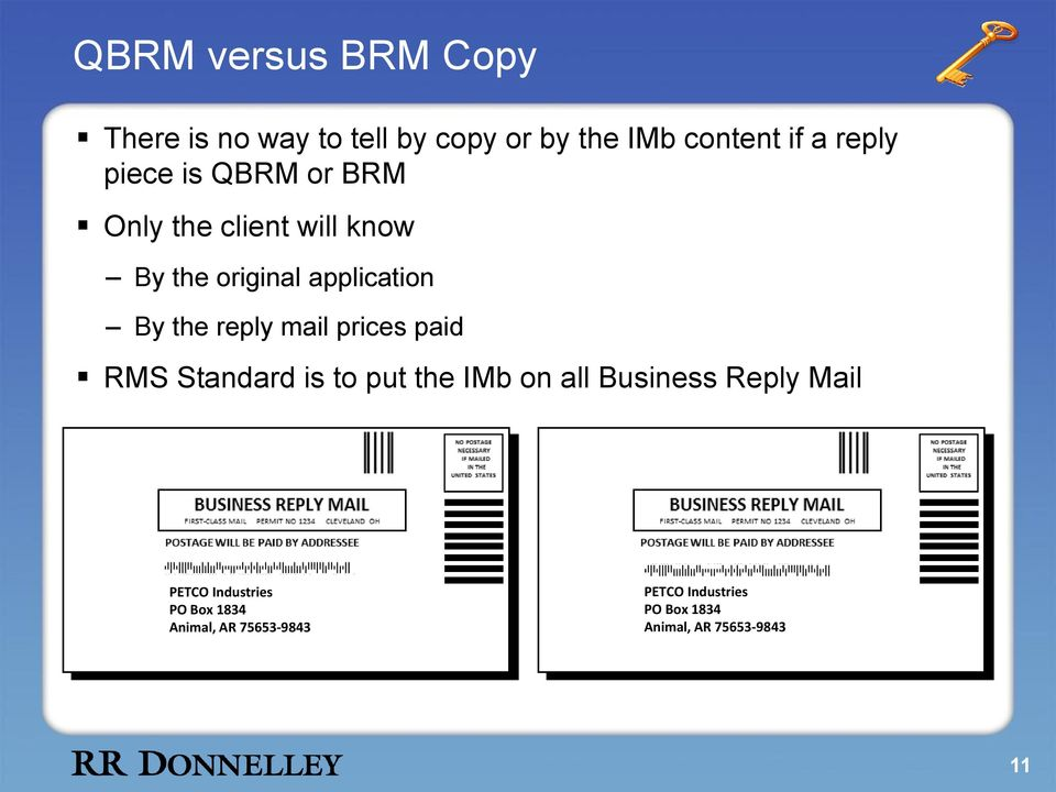 mail prices paid RMS Standard is to put the IMb on all Business Reply Mail PETCO