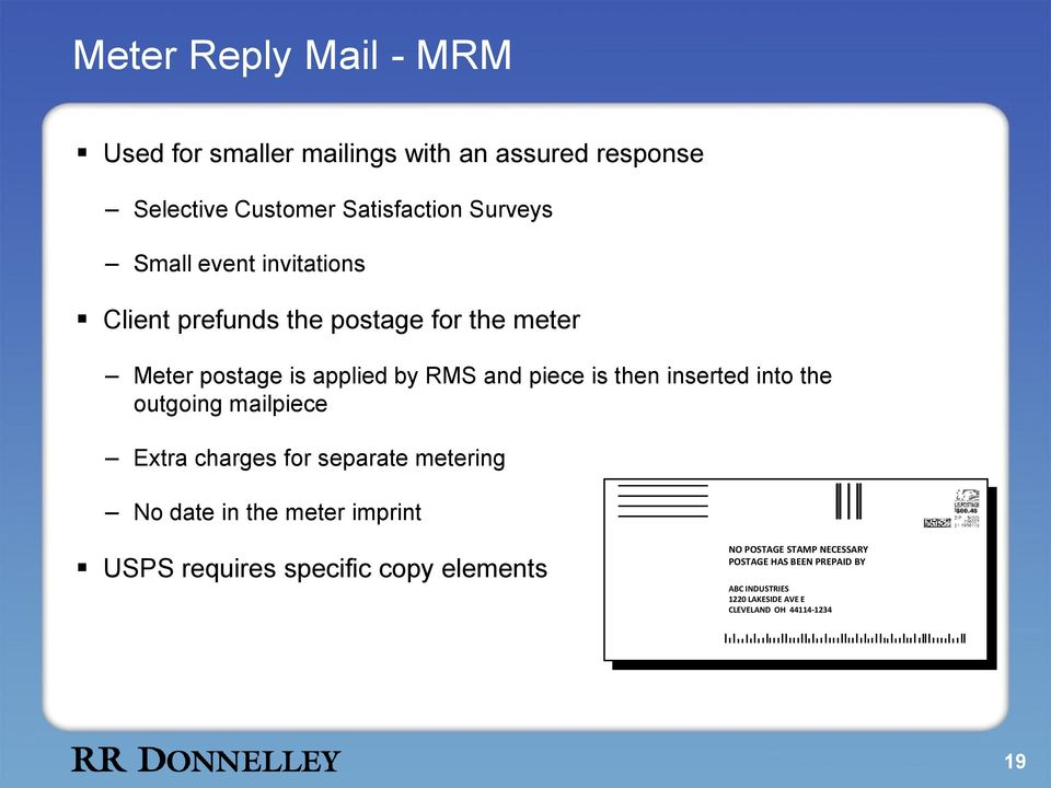the outgoing mailpiece Extra charges for separate metering No date in the meter imprint A $00.