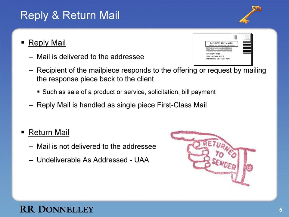 sale of a product or service, solicitation, bill payment Reply Mail is handled as single piece